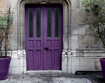Purple Door Print, Paris Photography, Gray, Purple, Plum, Rustic, Architecture, Travel Photos