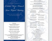 Silver and Navy Swirl Winter Wedding Ceremony Program - Flat, Two-Sided - Deposit