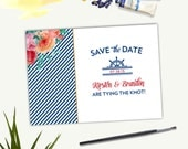 Nautical Stripes and Watercolor Save the Date Card - Printing Deposit or Printable / Digital File
