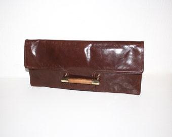 BOTTEGA VENETA Vintage Brown Leather Handbag Clutch Huge Oversized Wood Tote - AUTHENTIC -