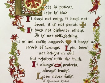 The Love Chapter,Calligraphy, Print of Original, Victorian, I Corinthians 13, Earth Tones, Wedding, Anniversary, Bible, Scripture