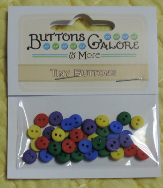 Primary Colors, Tiny Round Packaged Buttons, 2 Hole Buttons by Buttons Galore, Style 1347, Sewing, Crafting, Embellishments
