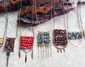 Structural necklace, long boho necklace, layering necklace, modern tribal, brown spot jasper, abacus ,copper verdigris ,gemstone chips