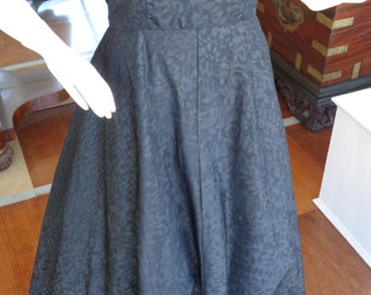 Vintage Black 1950s Moire Taffeta Evening Gown with Rhinestone Brooch