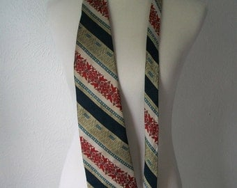 70s pattern Tiki floral tie in Navy Red and Gold