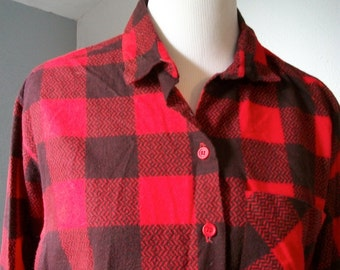 90s Grunge Flannel Button Up Shirt by Palmetto's - size L