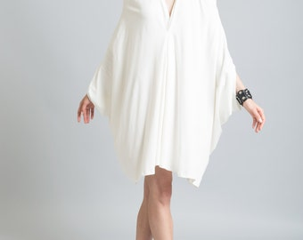 White Party Dress / V Neckline Dress / Casual Dress / Cocktail Dress / Loose Summer Dress / Oversized Dress / marcellamoda - MD100