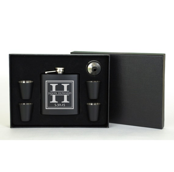 Personalized Monogram Flask Set with Shot Glasses Great for Father's Day or Groomsman Gift