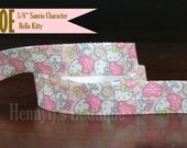 "5/8"" FOE : Sanrio Character HELLO KITTY Inspired Japan Cartoon Printed Shabby Chic Patterned Fold Over Elastic Stretch Band 2, 5, 10 Yards."
