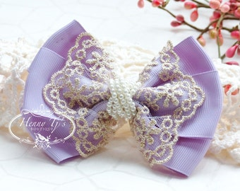 NEW: Ella Grace Collection - LILAC Lavender Ribbon and Lace Hair Bow knot Applique. DIY Hair accessories. Fabric pearl bow.