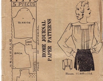 1940s Back Buttoned Blouse Pattern Home Journal 11449 Vintage Sewing Pattern Bust 36 inches UNUSED Factory Folded