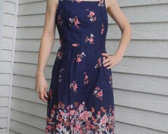 Blue Sun Dress Floral Print Summer Vintage 70s Cotton S