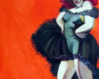 Orange Tango Burlesque Plus Size Pinup Girl Print