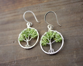 Peridot Tree of Life Earrings, Green Tree Earrings, August Birthstone, Peridot Earrings