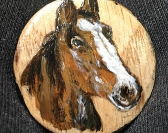 Hand Painted Wooden Horse Head Cabinet Knob - Pull