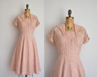 1950s dress/vintage 50s dress/ champagne pink lace dress