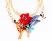 Hirsch-Anweisung Halskette Wald, Multi-Strang Perlenkette, trendige Kunst wunderlichen Schmuck