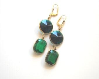 Green Chandelier Earrings, Crystal Dangle Emerald classic Earrings