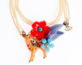 Deer statement Necklace woodland , Multi strand Pearl Necklace, trendy Art Whimsical Jewelry
