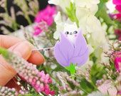Cat Hair Slide / Lilac Tulip Kitten Hair Slide