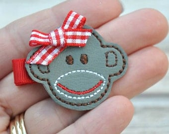 Sock Monkey Hair Clip, Felt Hair Clippie, Machine Embroidered, Alligator Clip, Non Slip, Ready to Ship