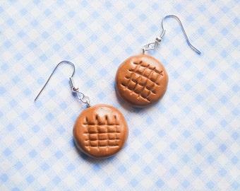 Peanut Butter Cookie Earrings, Cookie Earrings, Food Earrings, Miniature Food, Polymer Clay, Charm Earrings, Dessert Earrings, Cute Earrings