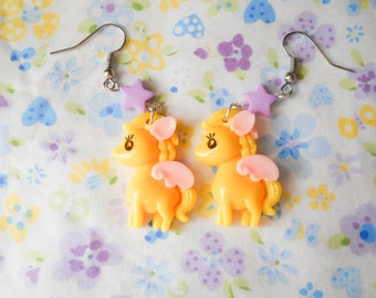 Cute Pony Earrings, Kawaii Earrings, Cute Earrings, Pegasus, Lolita, Kawaii Kei, Fairy Kei, Pegasus, Pony, Yellow