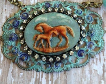 Country Chic ..  Giddy Up Horse Necklace .. Clever Designs by Jann