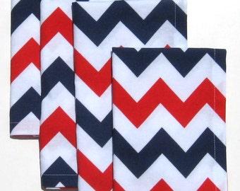 July 4th Napkins - Red White and Blue Napkins - Set of 4 - Patriotic Napkins - Chevron Napkins - Cloth Napkins - Dinner Napkins