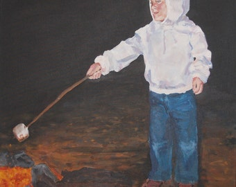 Original Art, Figure Painting, Acrylic on Canvas by Evan Degenfelder, Knight and Sword, 30.5 x 24.5 Inches