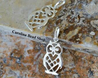 Sterling Silver Owl Charm - Bird Charms, Wildlife, Hoot Owl, Woodlands, CS568