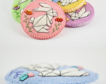 "Origami Rabbit Wool Felt Pocket Mirror Case / 2.25"" Pocket Mirror Felt Case/Handsewn Pocket Mirror Case/ Perfect Fit Felt Pocket Mirror Case"