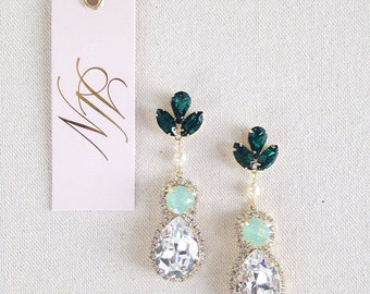 Swarovski Bridal Earrings- Crystal Drop Earrings- Emerald Bridal Earrings- Crystal Earrings- Chandelier Bridal Earrings