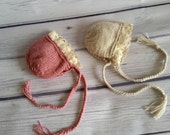 Newborn photo prop, newborn hat, newborn boy, newborn girl, knit newborn hat, newborn props, Newborn bonnet with lace brim.
