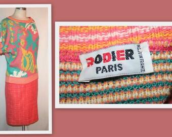 1980s Rodier Paris/Cotton Blend/Short Dolman Sleeve Vintage Sweater