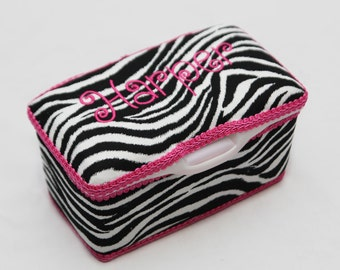 Personalized Wipes Case Tub - Zebra Print with Hot Pink