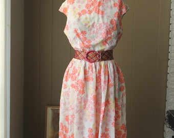 60s Stacy Ames daisy dress sleeveless soft rayon floral dress natural waist blouson bodice dress