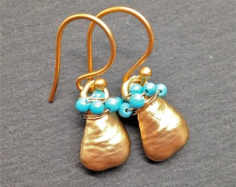 Seen On Law and Order , Turquoise Earrings , Gold Earrings , Gemstone Drops , Dangle Earrings , Gift For Her , December Birthday , Amy Fine