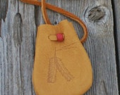 Medicine bag with feathers , Leather amulet bag , Necklace bag