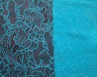 "1, 3 & 5 Yards of 14"" Wide Pale Aqua Blue Floral Stretch Lace Trim Bridal Wedding  Eyelash Victorian Style Lace Scalloped for Lingerie FJT2"
