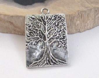 Tree Of Life - Silver Tree Pendant -  Antique Silver Tree Charm - Rectangle  (5) Pcs - 32x22mm - Silver Metal Charm - Diy  Jewelry Supplies