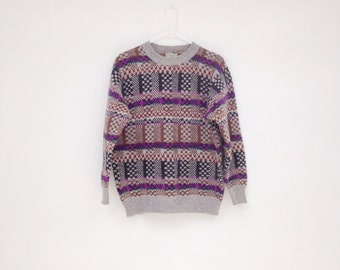 Vintage 1980s BENETTON Shetland Wool Unisex Pullover Sweater