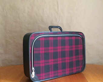 vintage 1960's mod tartan suitcase /  luggage /  carry on / travel bag / back to school