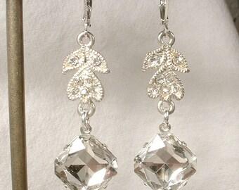 Vintage Art Deco Clear Pave Rhinestone Silver Bridal Leaf Dangle Earrings, OOAK 1920s Crystal Drop Earrings Great Gatsby Flapper Jewelry