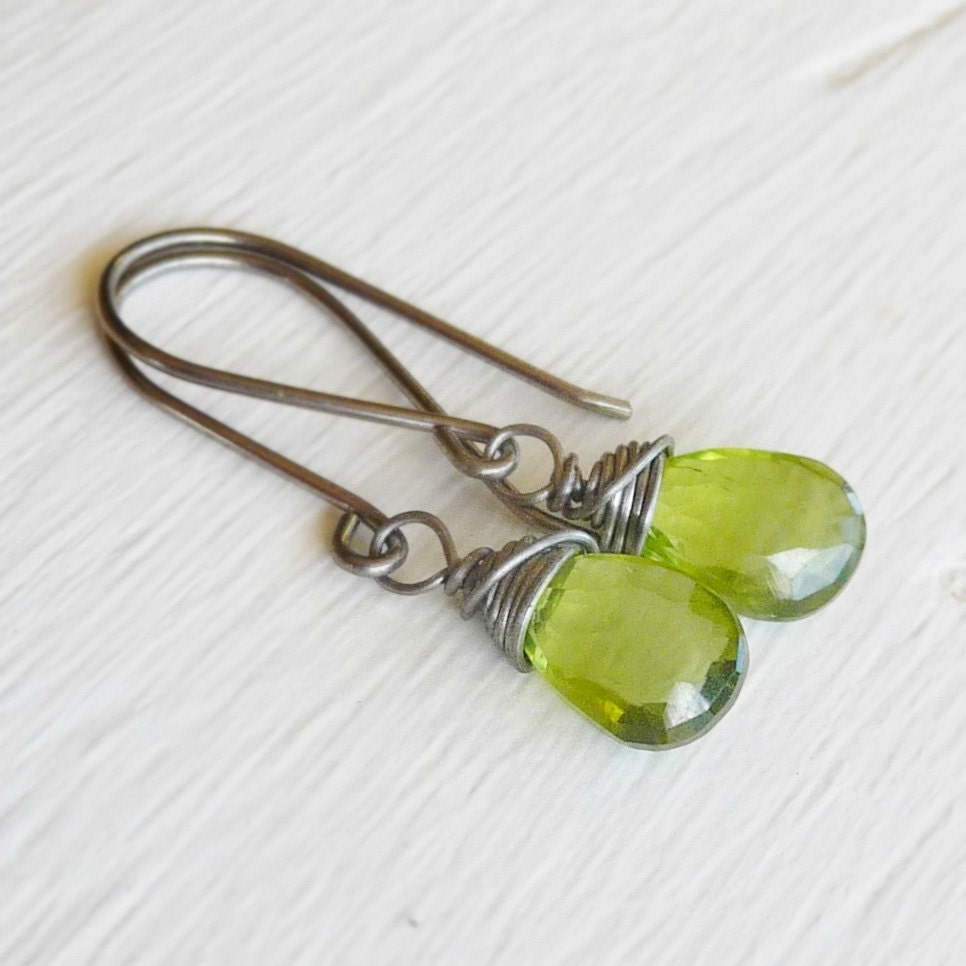 Peridot Niobium Earrings Green Gemstones on by NonitaJewelry