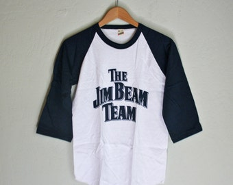 Vintage New Old Stock Jim Beam 3/4 Sleeve T Shirt - Small - Blue