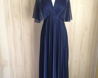 Stunning Navy Vintage Maxi Dress Evening Gown Sheer Pleated 60s Dance Party