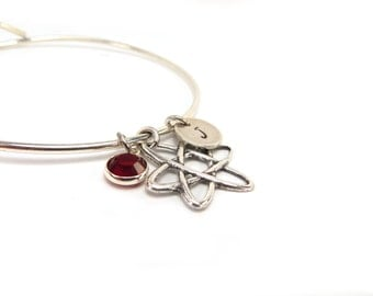 Science Geek Bangle Bracelet- Atom Bracelet with Birthstone & Initial