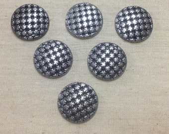 Six Antiqued Silver Finished Metal Buttons - Silver Metal Shank Buttons