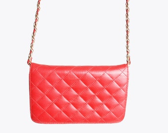 Vintage 90s QUILTED Red PURSE / 1990s Chain Strap Bag